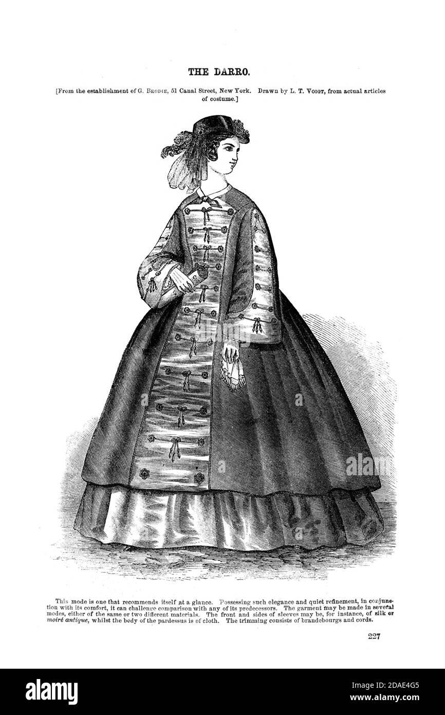 Godey's Fashion para marzo de 1864 de Godey's Lady's Book and Magazine, Marc, 1864, volumen LXIX, (volumen 69), Filadelfia, Louis A. Godey, Sarah Josepha Hale, Foto de stock