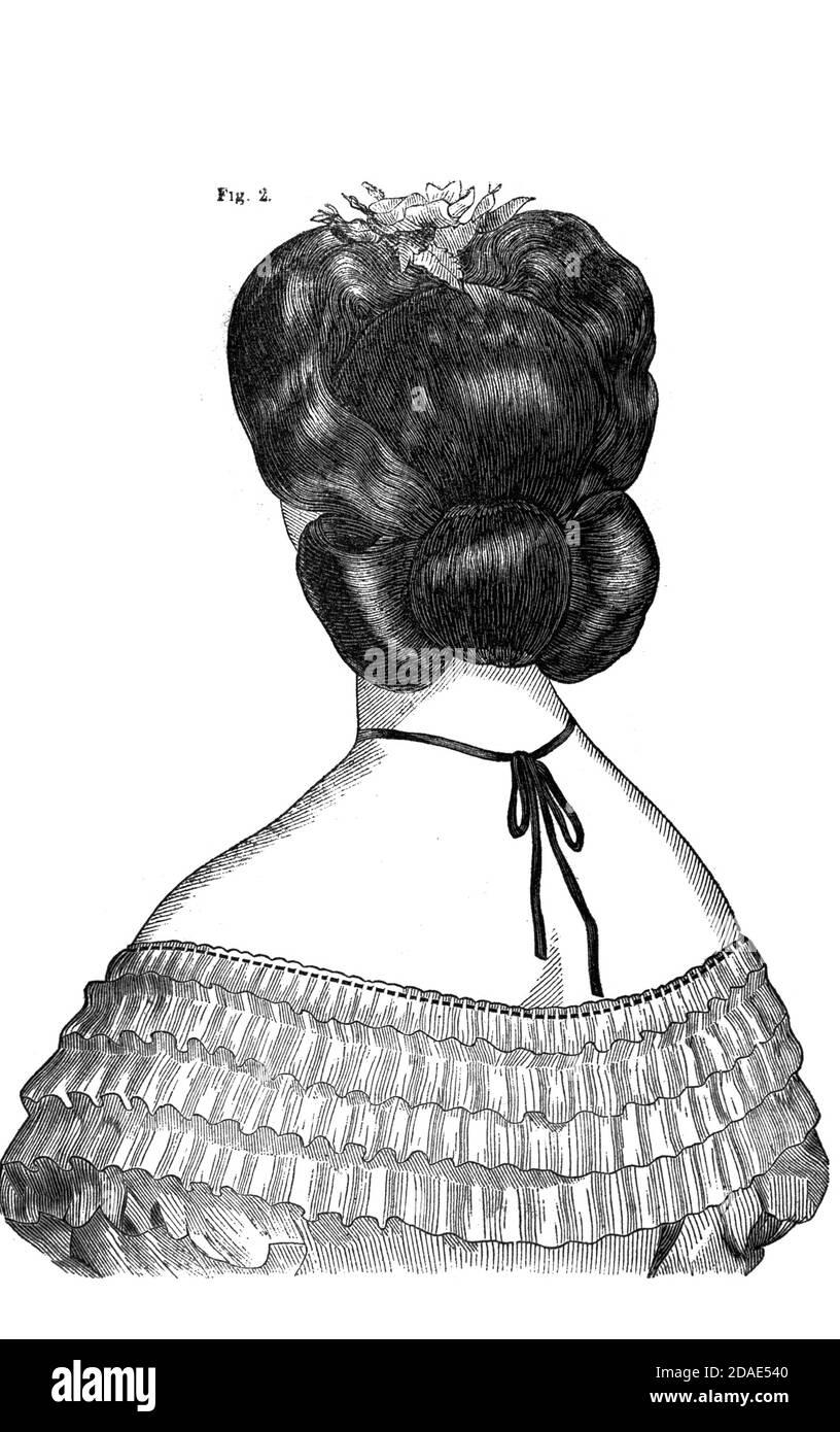 Coiffures - el peinado de la mujer de Godey's Lady's Book and Magazine, Marc, 1864, volumen LXIX, (volumen 69), Filadelfia, Louis A. Godey, Sarah Josefa Hale, Foto de stock