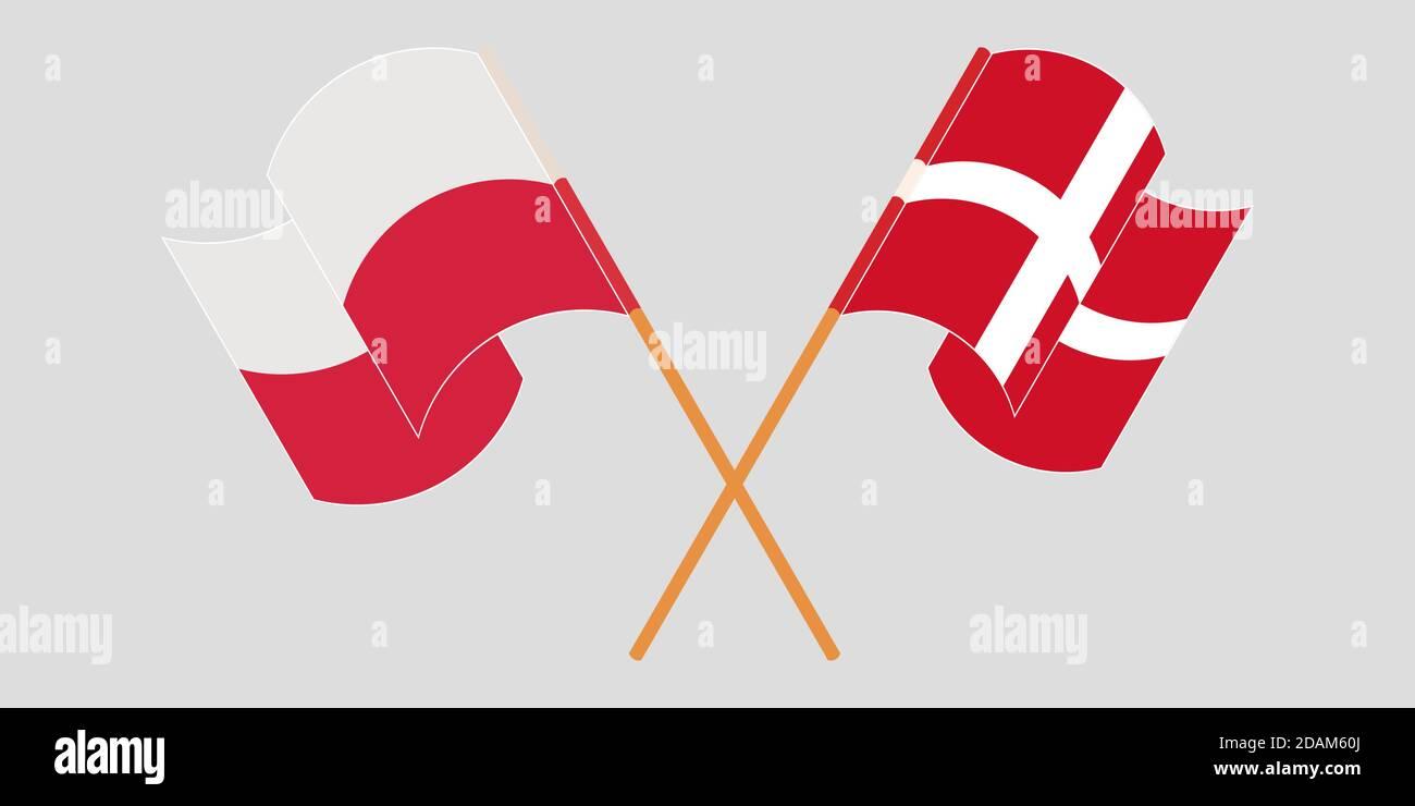 Banderas cruzadas y agitadas de Polonia y Dinamarca. Ilustración vectorial Ilustración del Vector