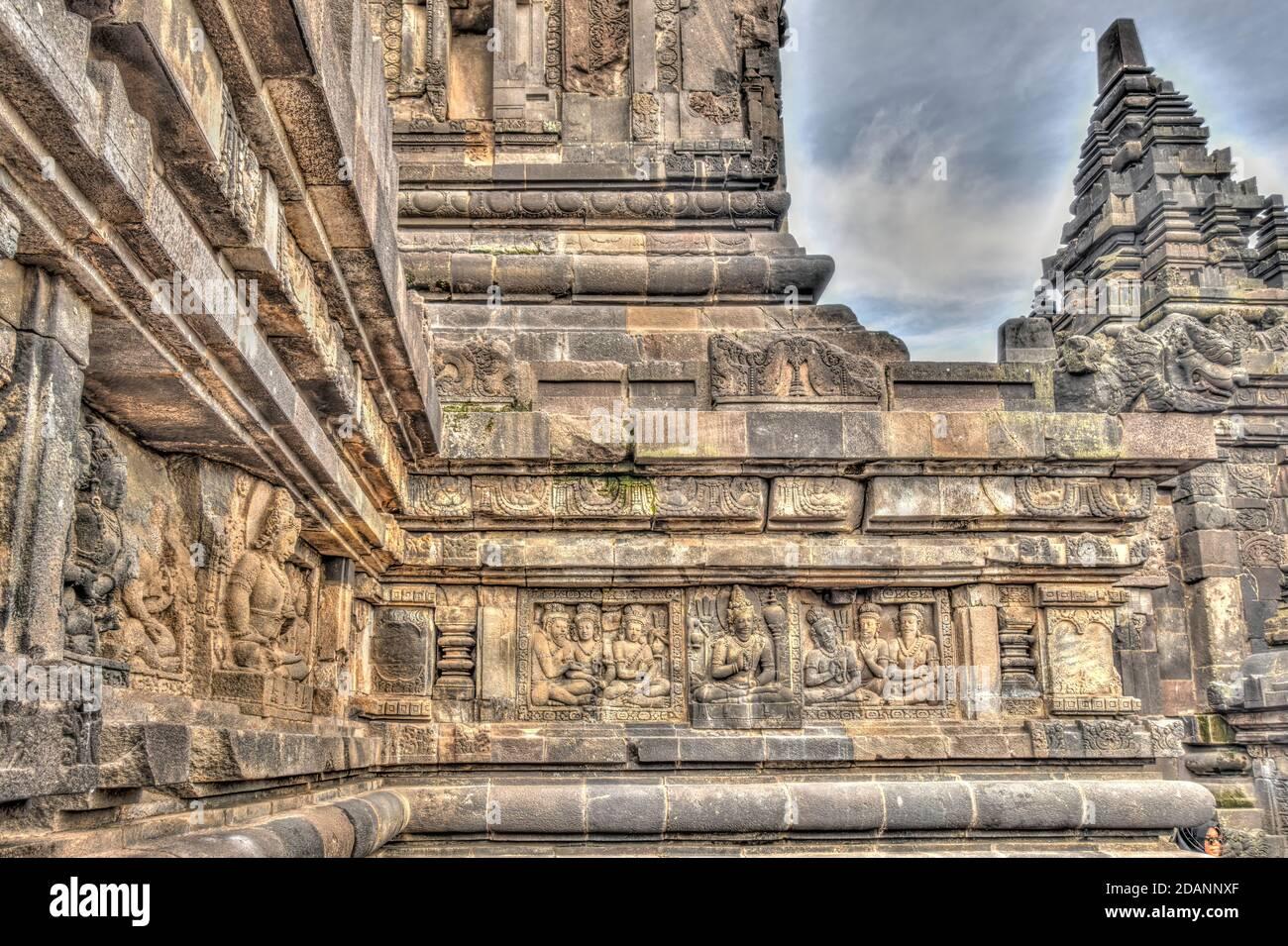 Templo Prambanan, Java, Indonesia Foto de stock