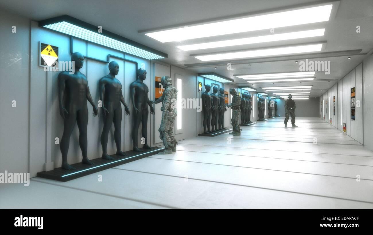 renderización 3d. Escena futurista y figura humanoide Foto de stock