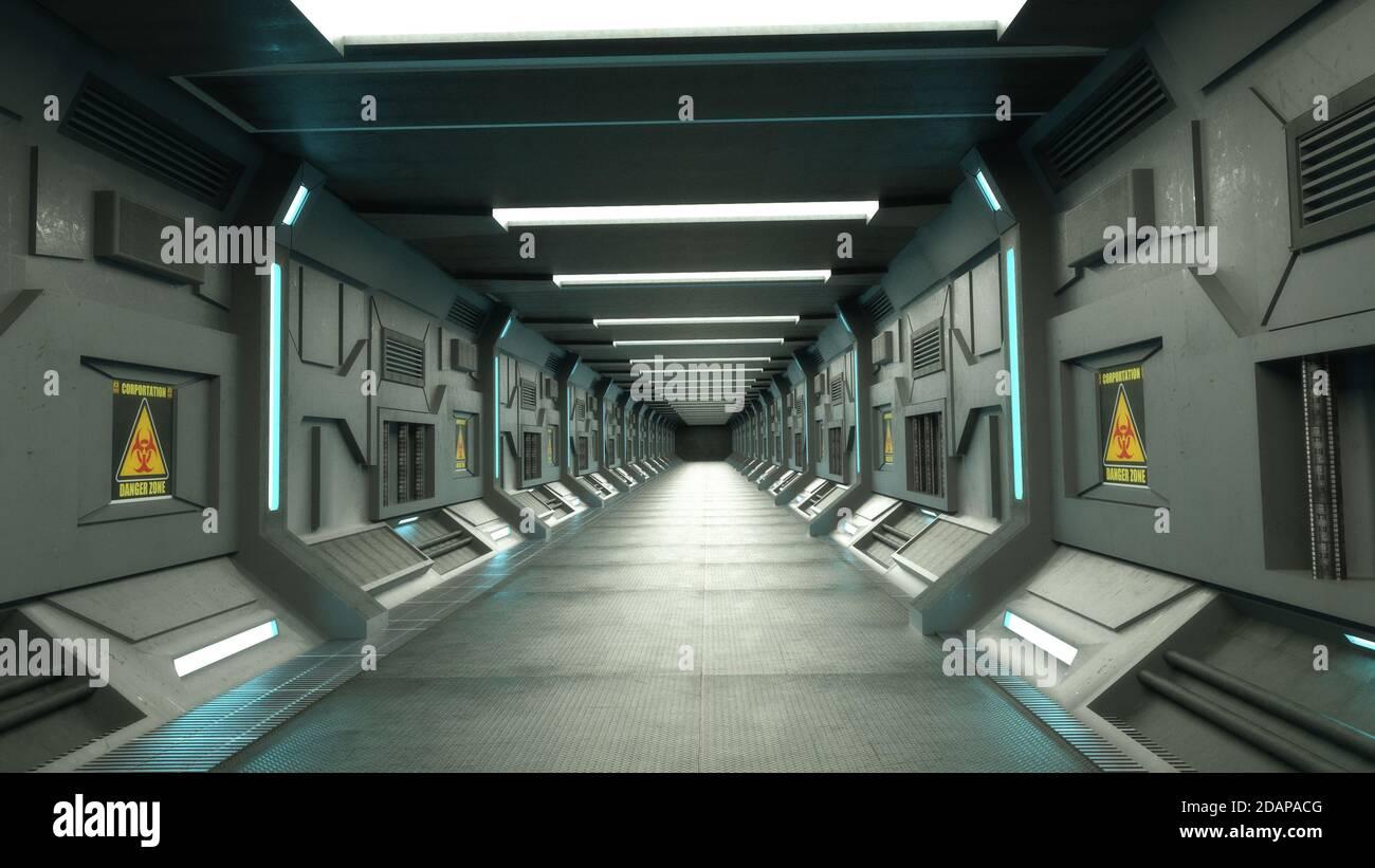 renderizar en 3d. Diseño futurista de concepto interior Foto de stock