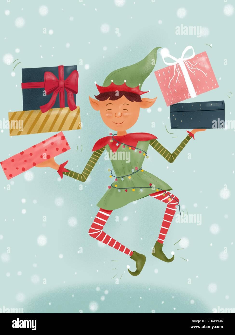 Dibujo a mano Ilustración de la enana de Navidad Elf sosteniendo regalos de Santa Claus. Foto de stock