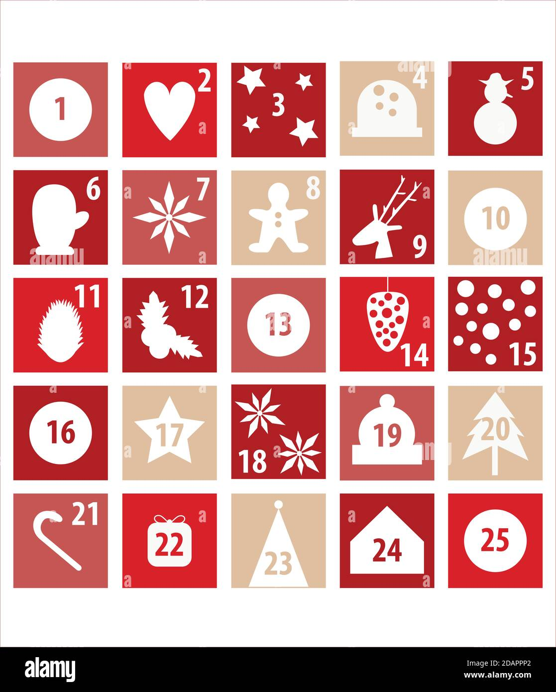 Ilustración del calendario de adviento para la cuenta atrás de Navidad. Rojo y blanco con símbolos de Navidad. Foto de stock