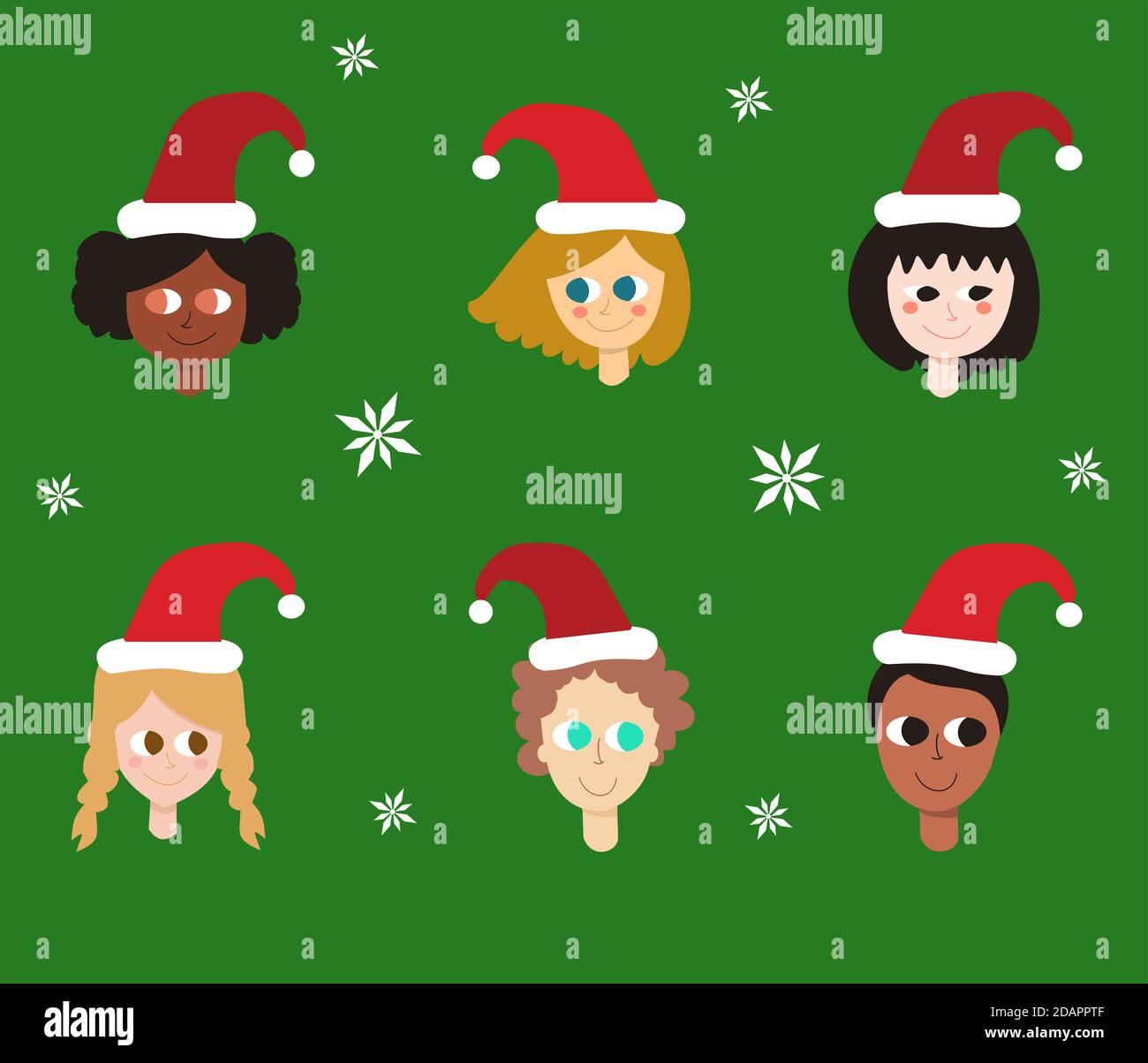 Ilustración de la diversidad de los niños usando sombrero de Navidad. Patrón de Navidad y fondo para niños Foto de stock