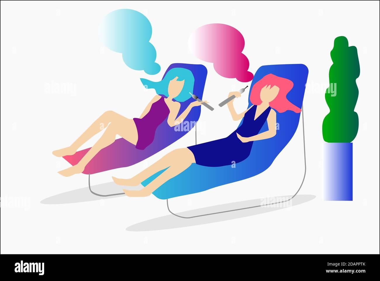 Ilustración de dos mujeres que vaping e-cigarrette Foto de stock