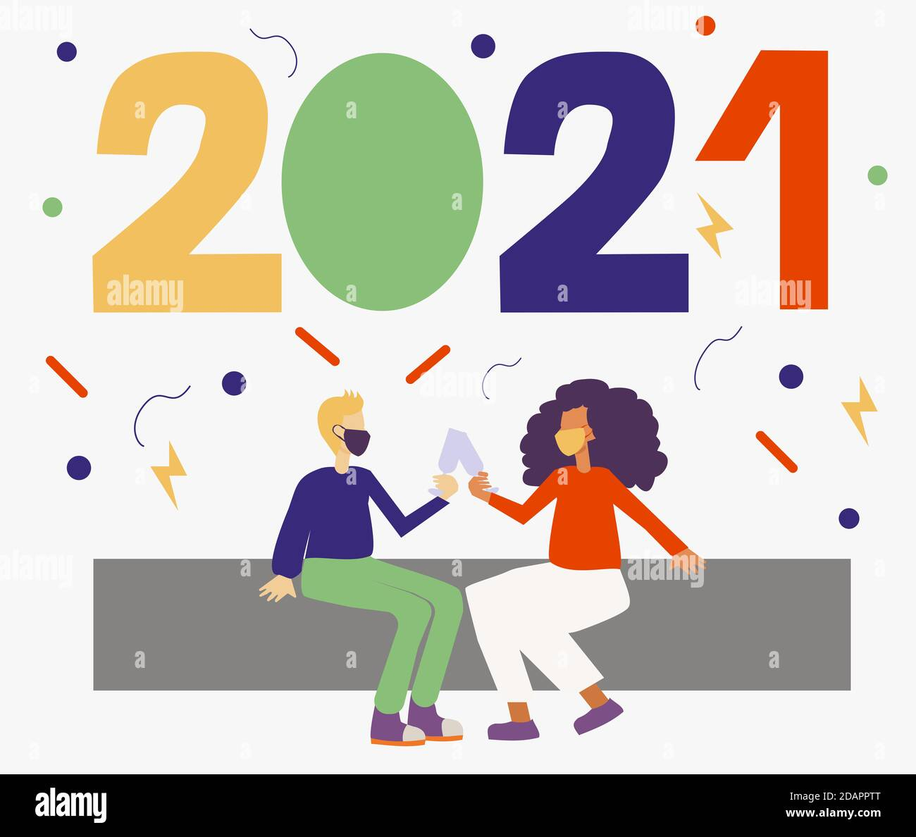 Ilustración de dos personajes con máscaras faciales y celebrando el año nuevo 2021. La nueva normalidad previniendo la infección por el virus de la corona. Foto de stock
