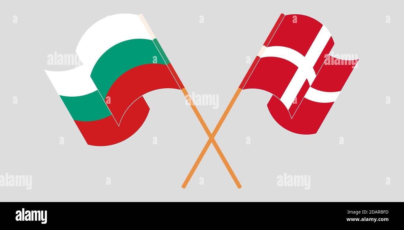 Banderas cruzadas y agitadas de Bulgaria y Dinamarca. Ilustración vectorial Ilustración del Vector