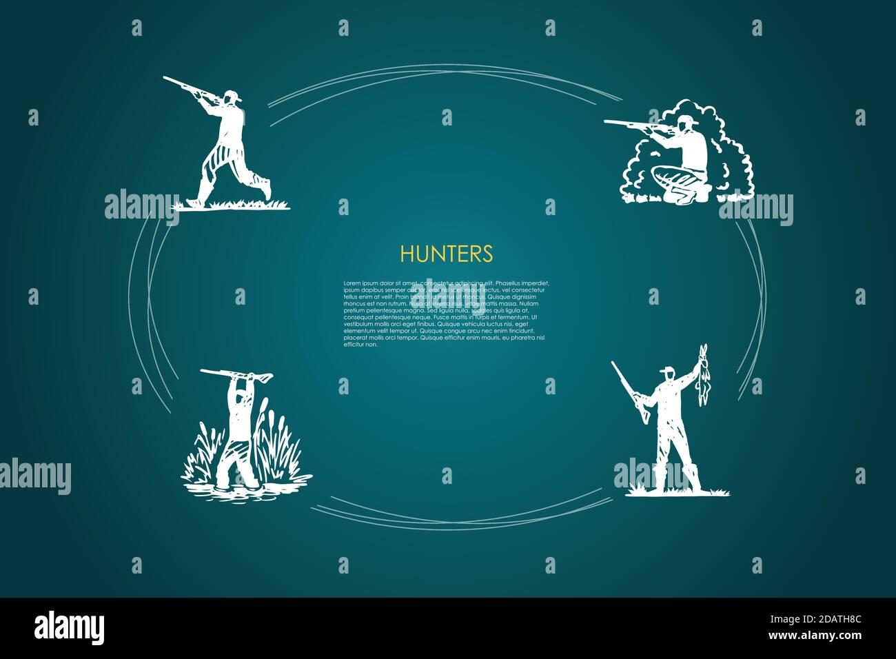 Hunters - hombres con disparos de armas en el bosque y pantano, sosteniendo el juego de conceptos de vectores de conejo matado Ilustración del Vector