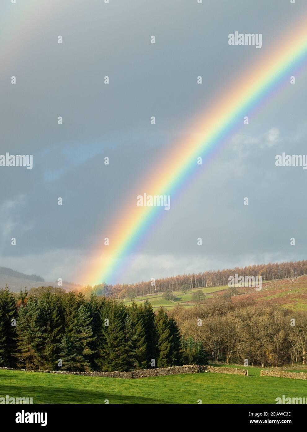 Clima en el Reino Unido: Impresionante arco iris sobre Barden en Wharfedale, Yorkshire Dales National Park paisaje: Impresionante arco iris sobre Barden en Wharfedale, Yorkshire Foto de stock