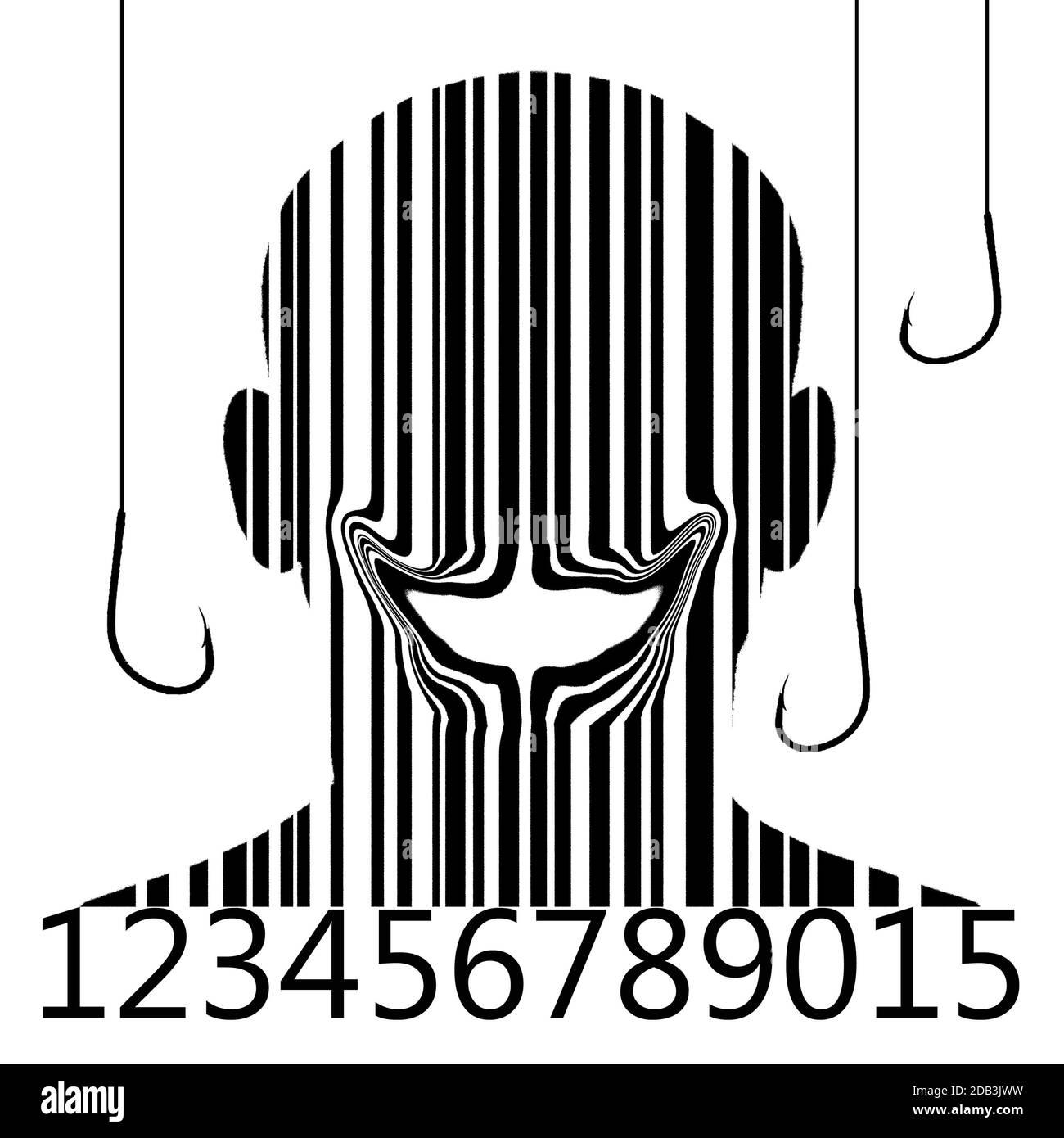 Código de barras smilin hombre con anzuelo ilustración digital Foto de stock
