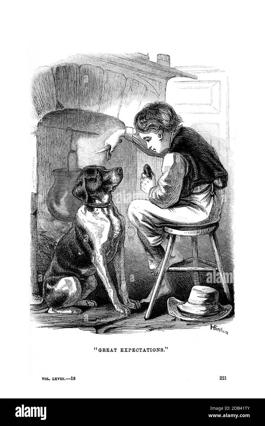 Escena de grandes expectativas la decimotercera novela de Charles Dickens de Godey's Lady's Book and Magazine, Marc, 1864, volumen LXIX, (volumen 69), Filadelfia, Louis A. Godey, Sarah Josepha Hale, Foto de stock