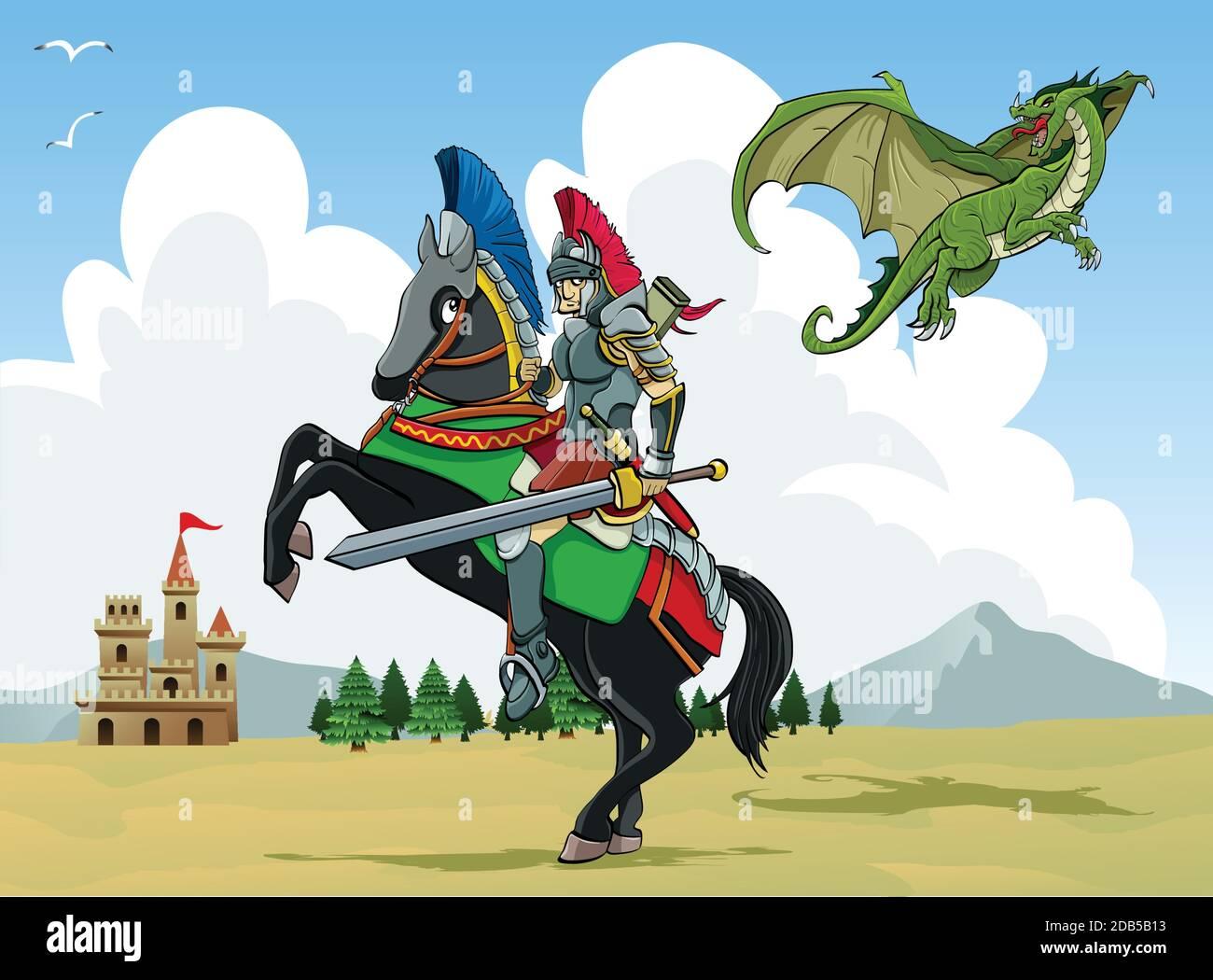 Ilustración de dibujos animados: Un dragón volador amenaza a un caballero con espada. Los árboles y el antiguo castillo en el fondo Ilustración del Vector