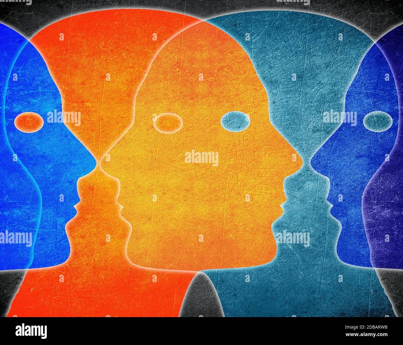 Cuatro jefes de colores ilustración digital Foto de stock