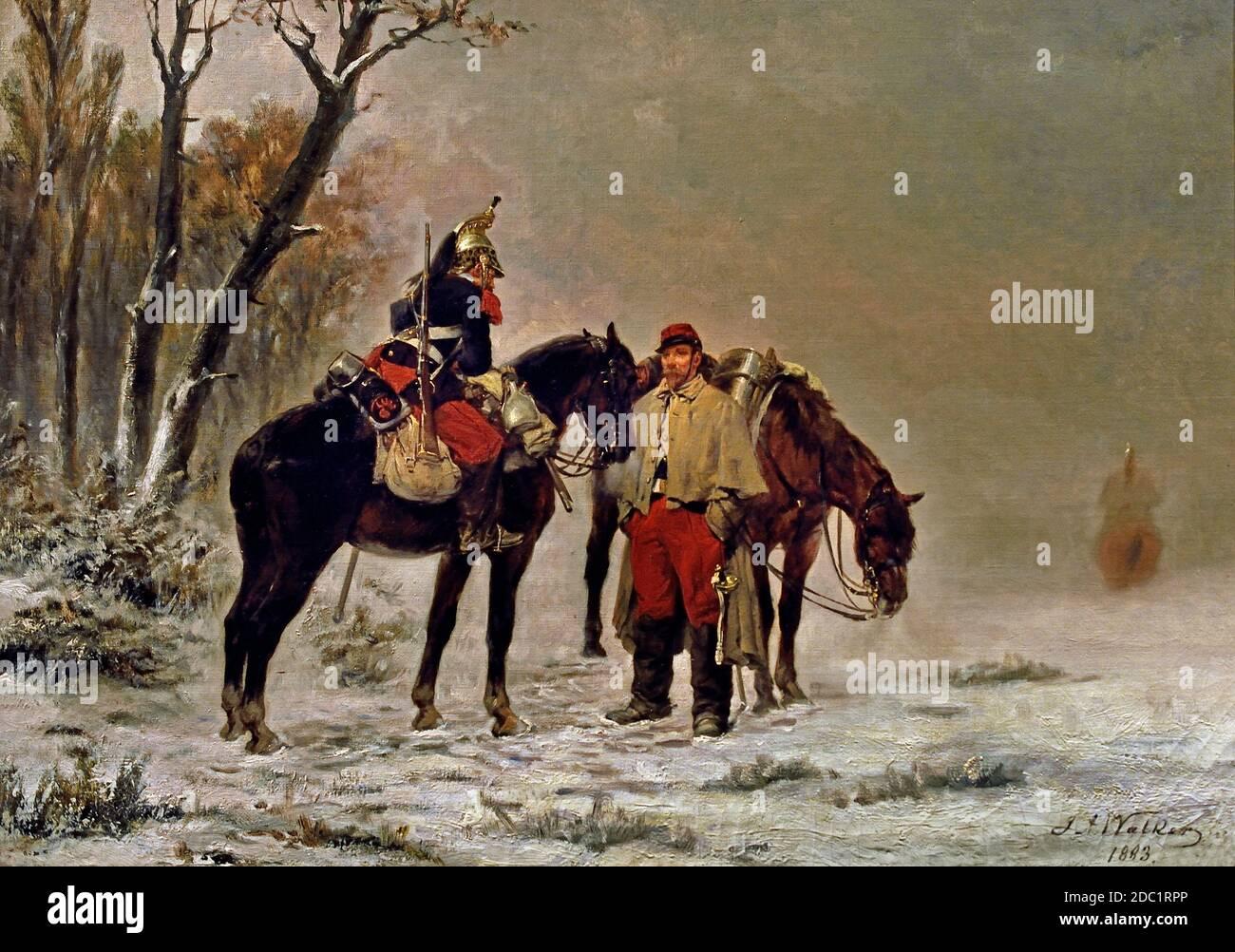 Dragoons on a halt 1870, 1890 James Alexander Walker 1841-1898 Francia, francés. Foto de stock