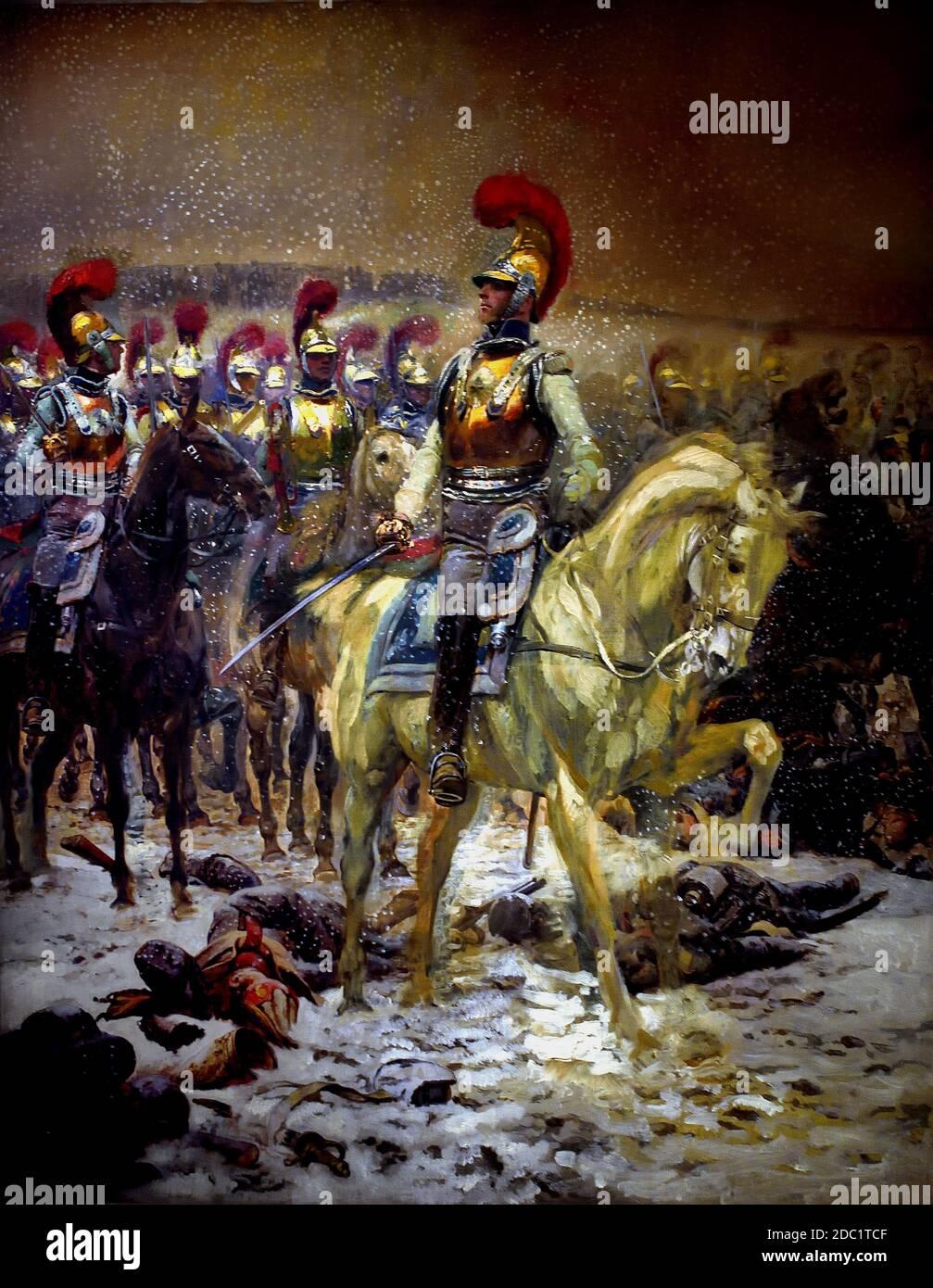 Antes de la carga. Los Carabiniers en Winkowo , 1900, Jean-Baptiste Édouard Detaille, 1848 – 1912, Alphonse de Neuville, 1835-1885, Francia, francés, alemán, Alemania, Foto de stock