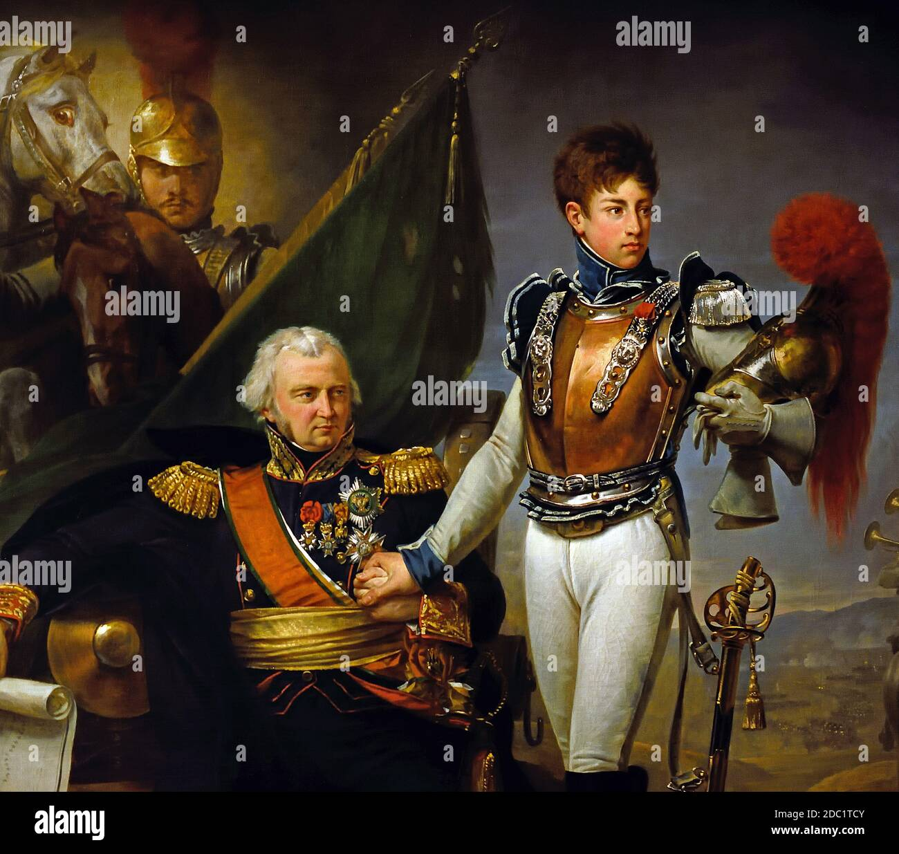 General Lariboisière y su hijo, un oficial de la Carabinier-à-cheval que murió durante la batalla de Borodino en 1812 por GROS Antoine Jean 1771-1835 France French, ( ejército del emperador Napoleón Bonaparte ) Foto de stock