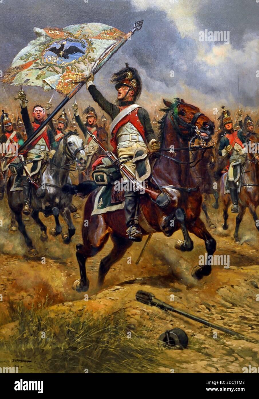 La Bandera capturada 1898 Jean-Baptiste Édouard Detaille, 1848 – 1912, Francia, francés. ( Dragoon francés con bandera prusiana capturada en la batalla de Jena-Auerstedt, 1806 ) ( ejército del emperador Napoleón Bonaparte ) Foto de stock