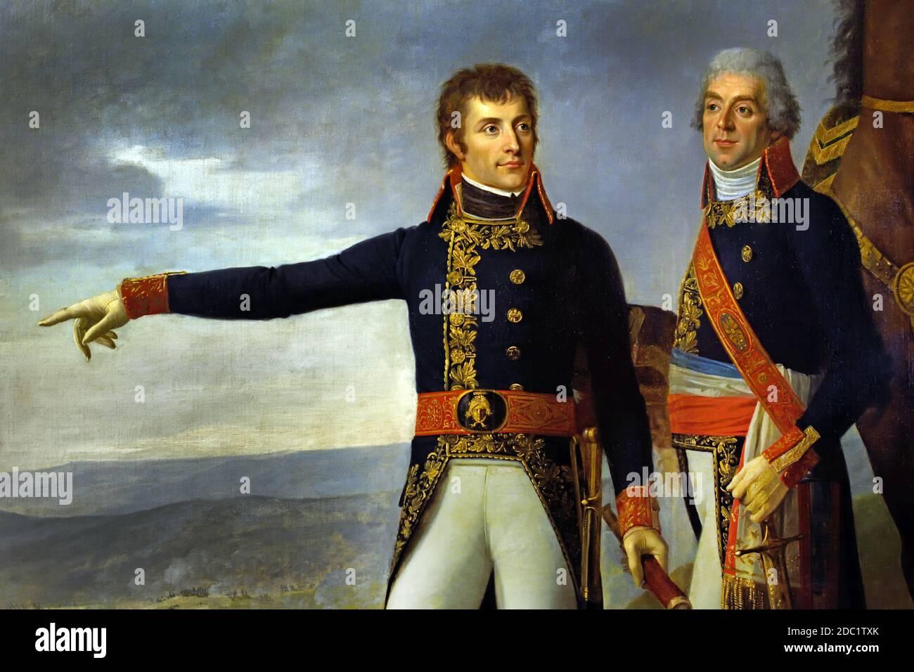 Emperador Napoleón Bonaparte - General Bonaparte y su jefe de Estado mayor Berthier en la batalla de Marengo 14 de junio de 1800 Francia, francés. Foto de stock