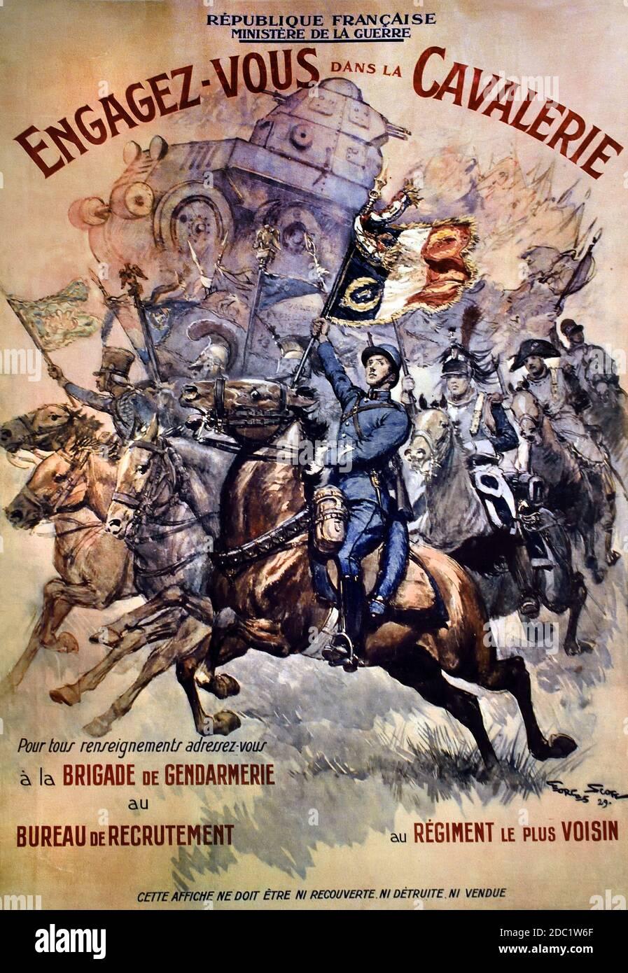 Engagez vous dans la cavalerie - Únete a la caballería 1929 Georges Scott 1873-1942 Francia, francés, alemán, Alemania, Foto de stock