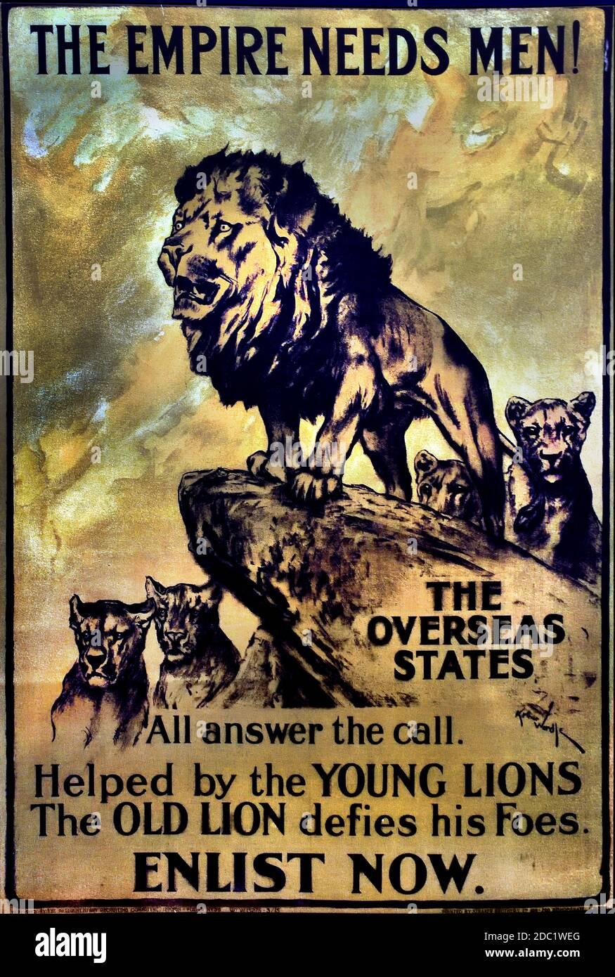 ¡el Imperio necesita hombres! Enliste ahora. 1915 por Arthur Wardle 1864-1949. Francia, francés, alemán, Alemania, Foto de stock