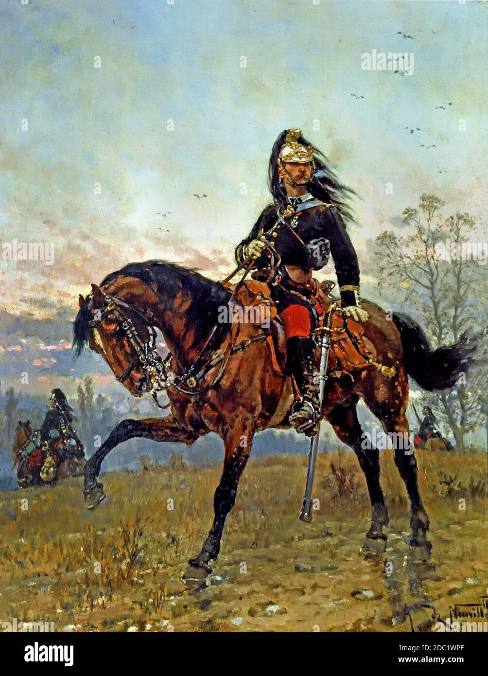 Dragones capitán 1878 Alphonse de Neuville, 1835-1885, Francia, francés, alemán, Alemania, Foto de stock