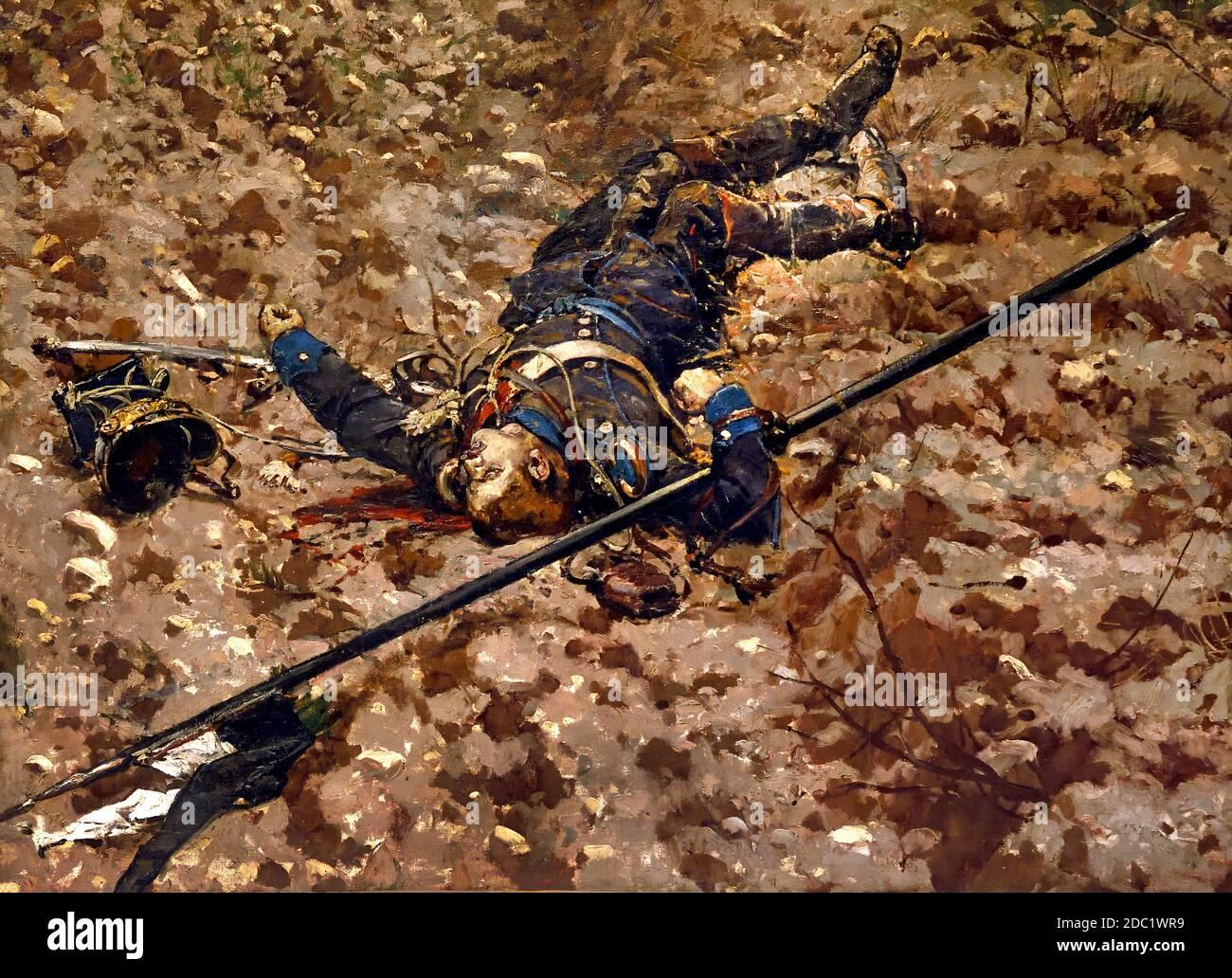 Muerto Uhlan 16 regimiento (Altmark) y cruissier del 7º regimiento, de Von Bredow Brigada. Jean-Baptiste Édouard Detaille, 1848 – 1912, Alphonse de Neuville, 1835-1885, Francia, francés, alemán, Alemania, ( Batalla de Rezonville agosto de 1870 ) Foto de stock