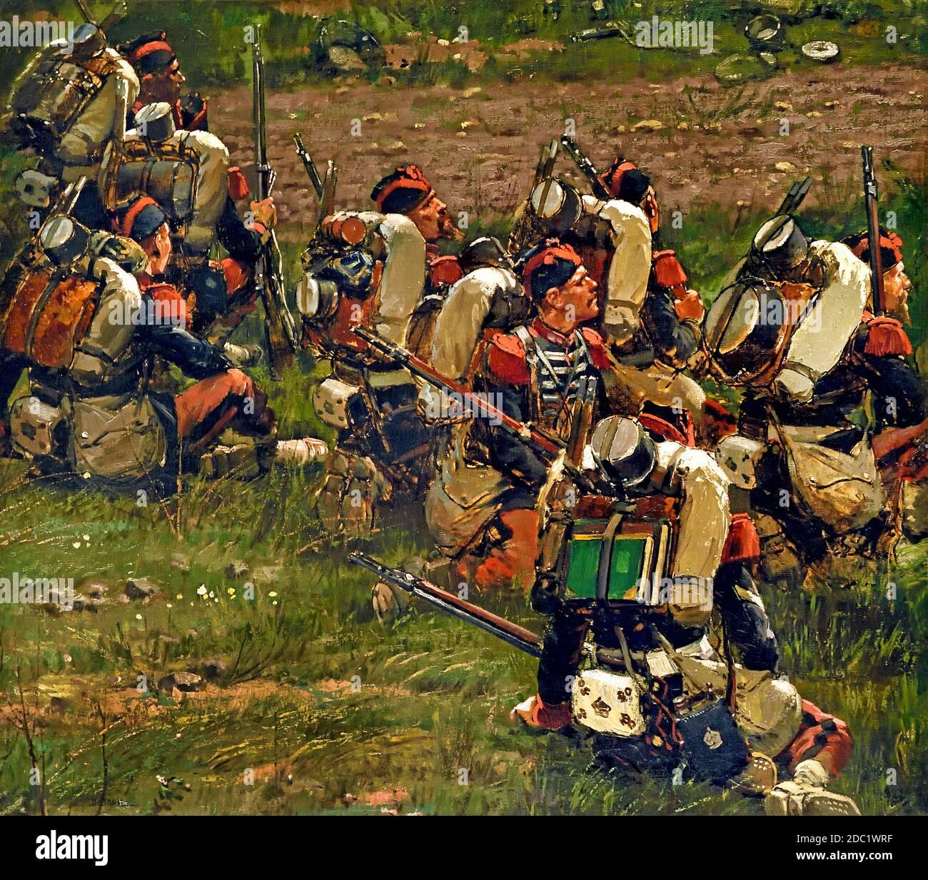Grenardier destacamento de la Garde imperiale por Jean-Baptiste Édouard Detaille, 1848 – 1912, Alphonse de Neuville, 1835-1885, Francia, francés, alemán, Alemania, ( Batalla de Rezonville agosto de 1870 ) Foto de stock