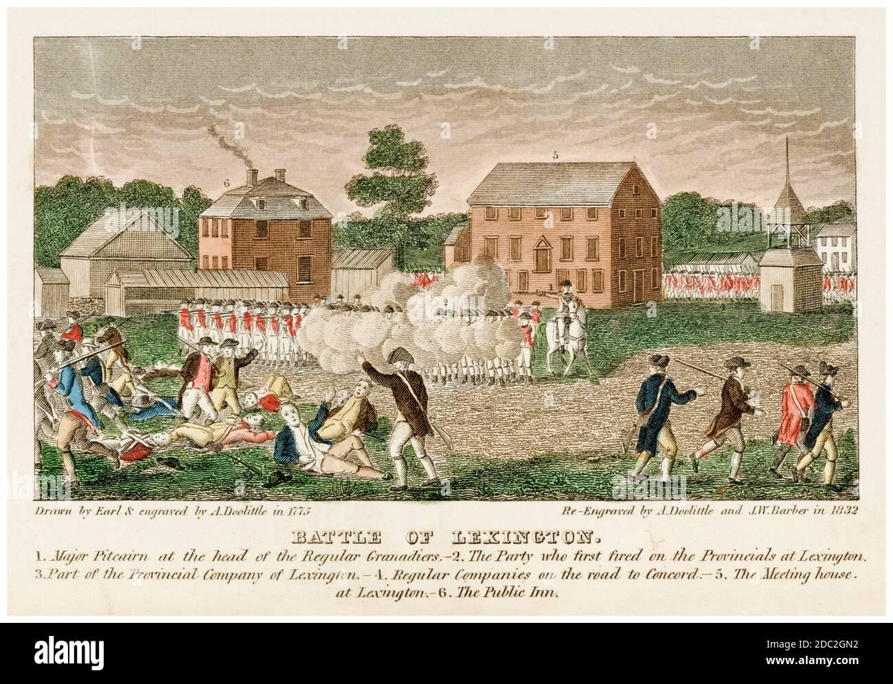 La batalla de Lexington, 19 de abril de 1775, una de las primeras batallas en la Guerra de Independencia Americana, impreso por John Warner Barber, 1831 y 1846 Foto de stock