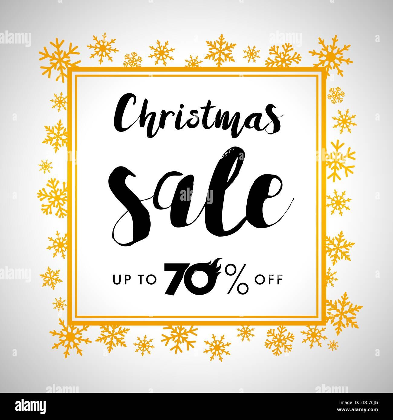 Venta de letras de oro Merry Christmas Elegant Merry Christmas vector gold venta de letras hasta un 70% de descuento en diseño con oro brillante copos de nieve en marco de oro Ilustración del Vector