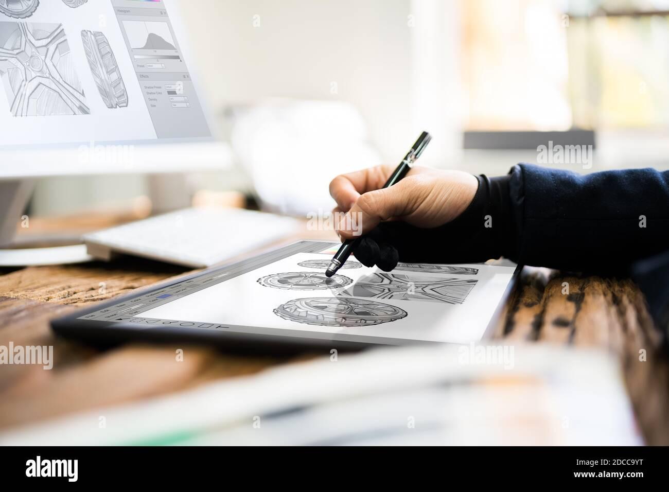 Gráfico Artist Designer dibujo de boceto en la tableta Foto de stock