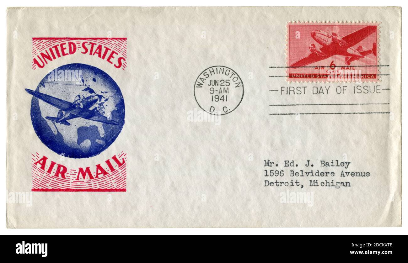 Washington D.C., EE.UU. - 25 de junio de 1941: Sobre histórico: Cubierta con correo aéreo de cachet de aviación, sello postal Douglas DC-3, seis centavos, primer día Foto de stock