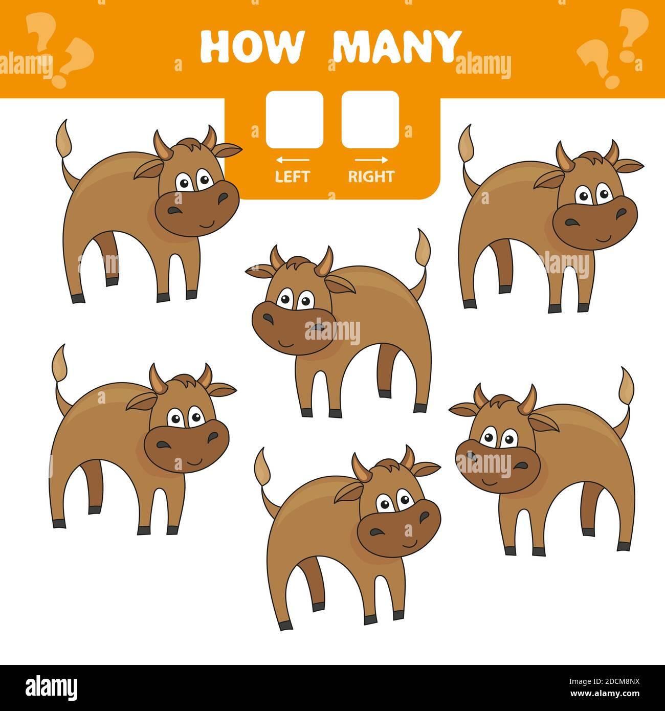 Contando a los niños juego de toros de dibujos animados. Colección de aprendizaje para niños. Cuente cuántos a la izquierda y a la derecha. Actividad de la hoja de trabajo preescolar. Ilustración del Vector