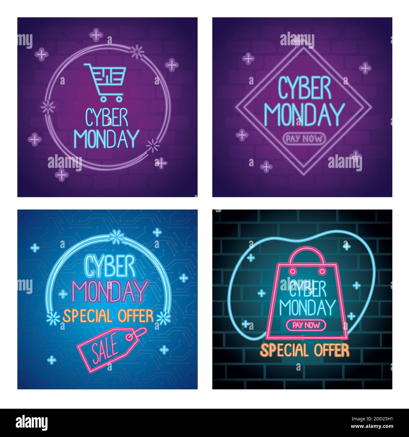 cyber lunes cartas de neón en plantillas de colores Ilustración del Vector