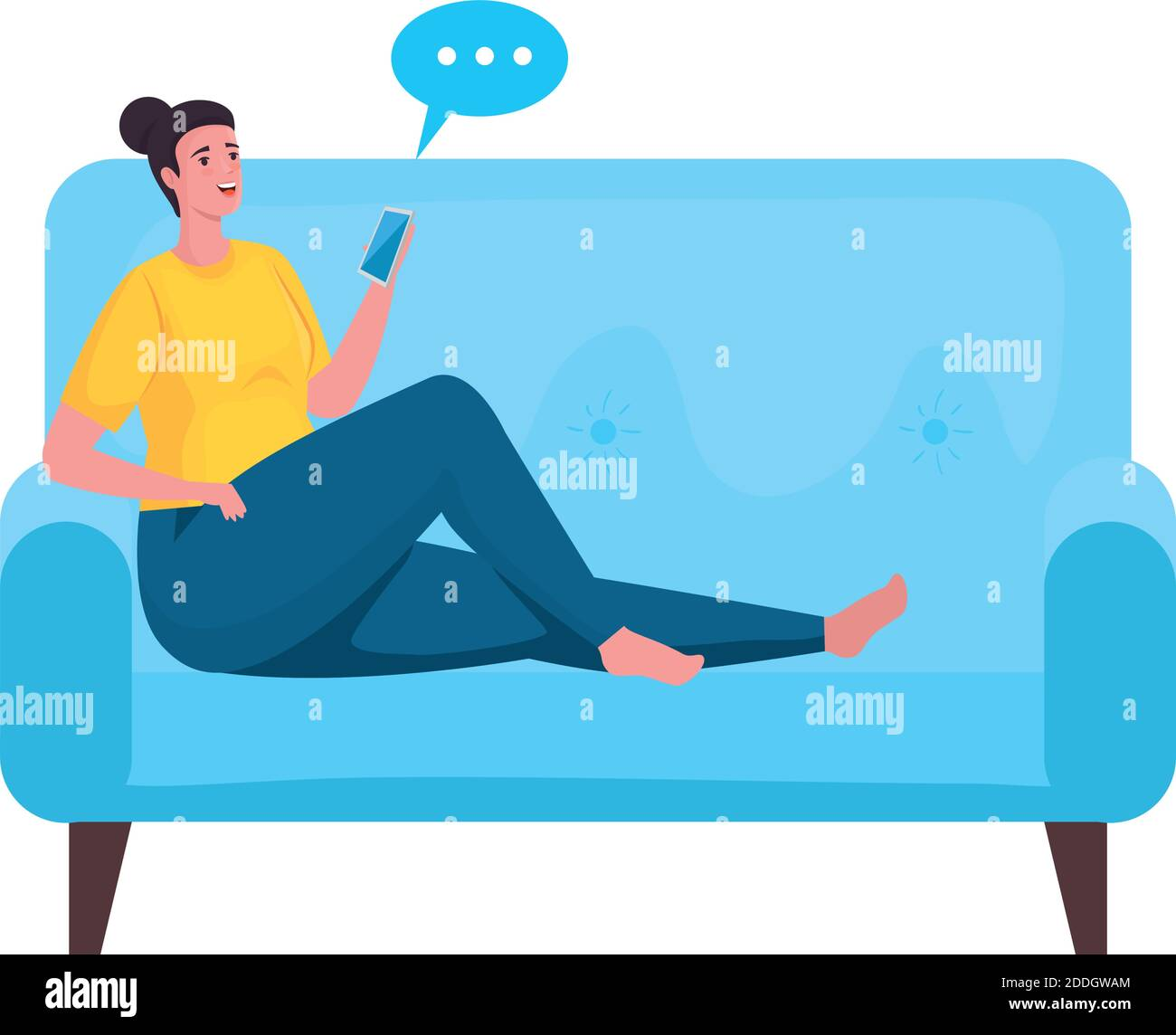 mujer usando el smartphone para reunirse en línea en el sofá Ilustración del Vector