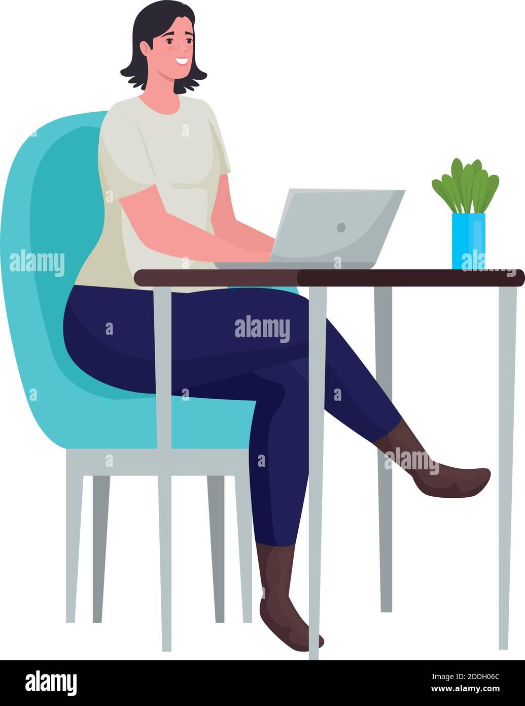 mujer que usa el portátil para reunirse en línea en la oficina Ilustración del Vector
