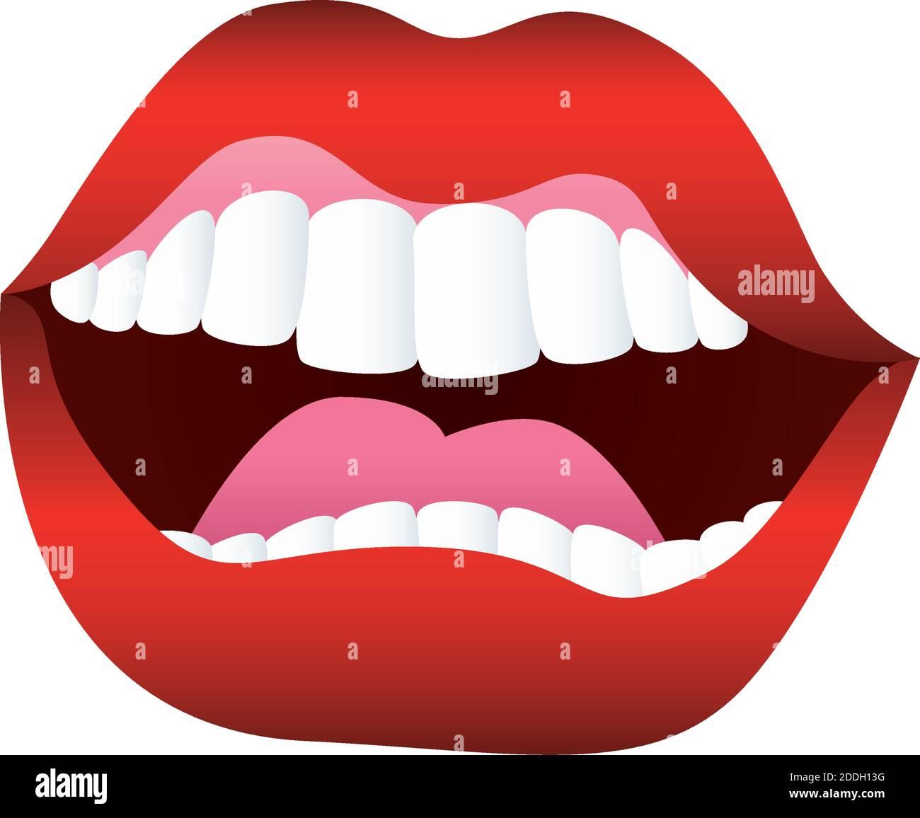 sexy mujer boca abierta icono Ilustración del Vector