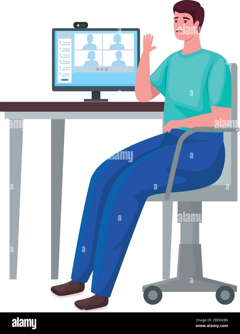 hombre usando el escritorio de la computadora para la reunión en línea Ilustración del Vector