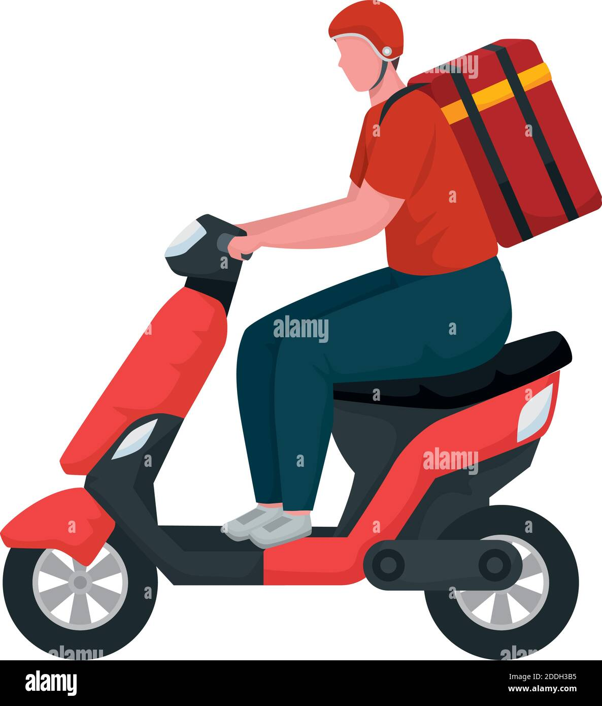 trabajador de entrega en el carácter de motocicleta Ilustración del Vector
