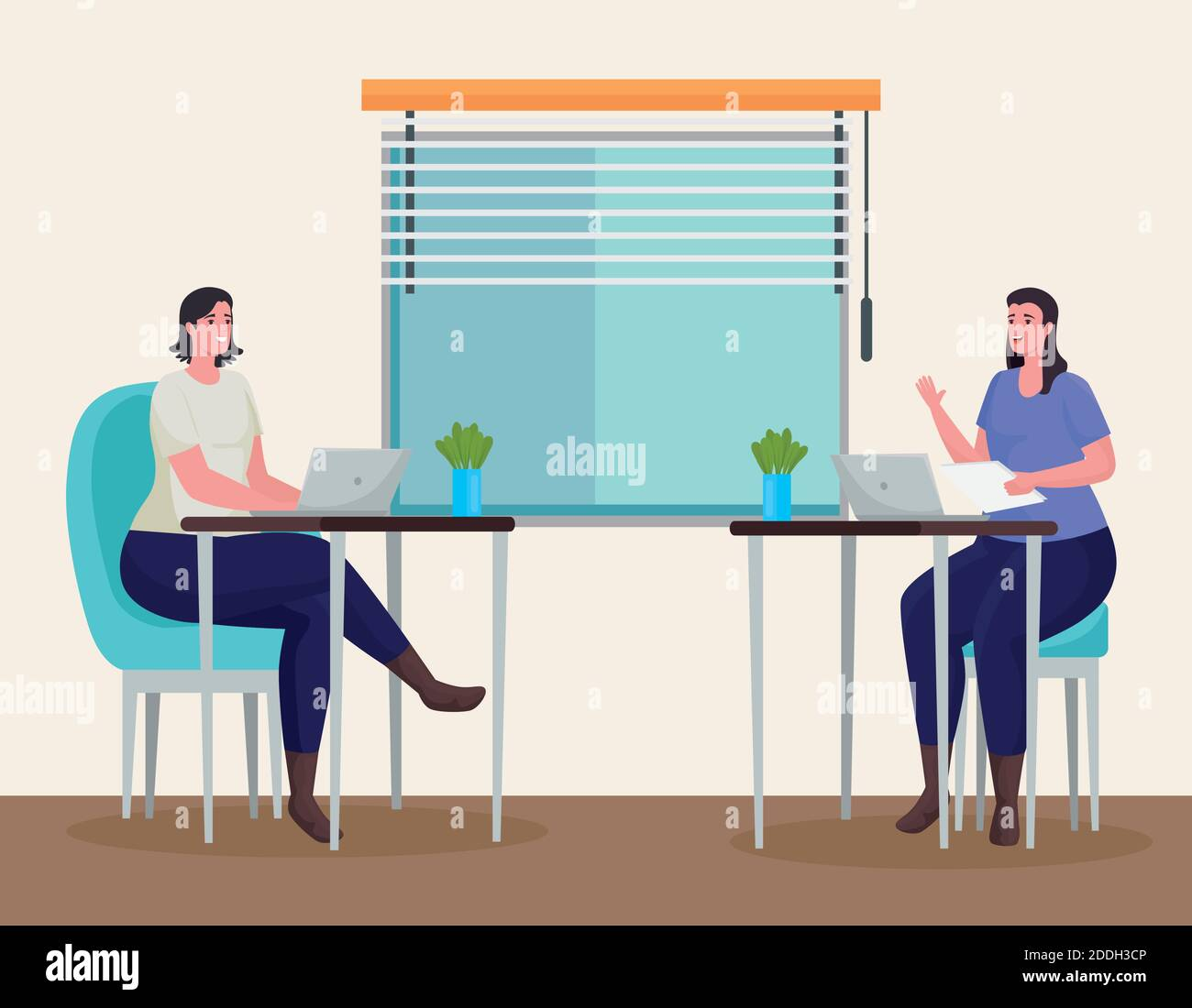 las mujeres se acoplan usando computadoras portátiles para reunirse en línea en el lugar de trabajo Ilustración del Vector