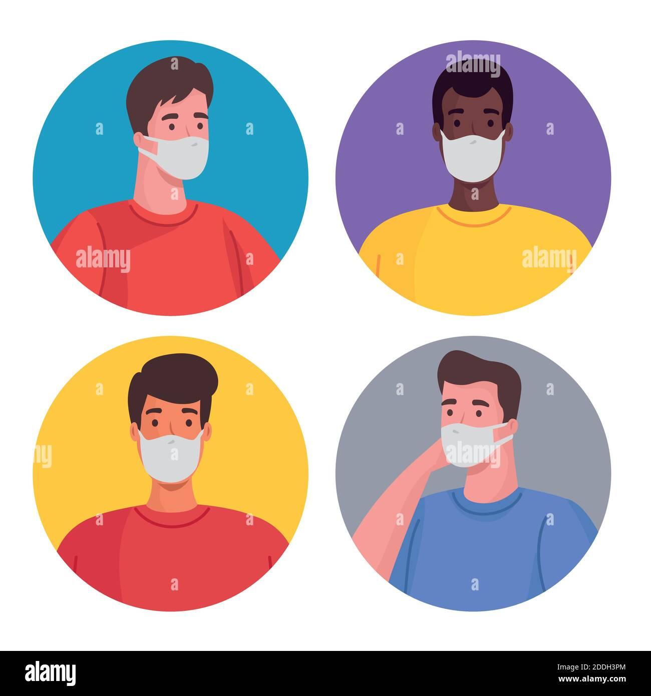 grupo de hombres interraciales con máscaras médicas Ilustración del Vector