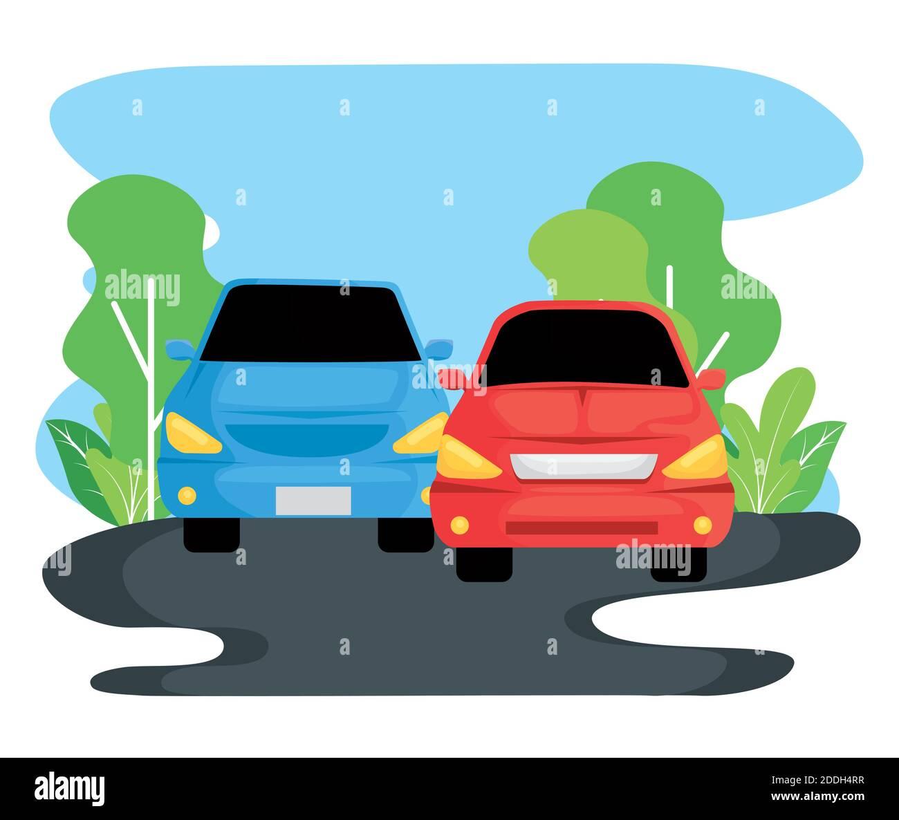 vehículos que viajan por el paisaje Ilustración del Vector