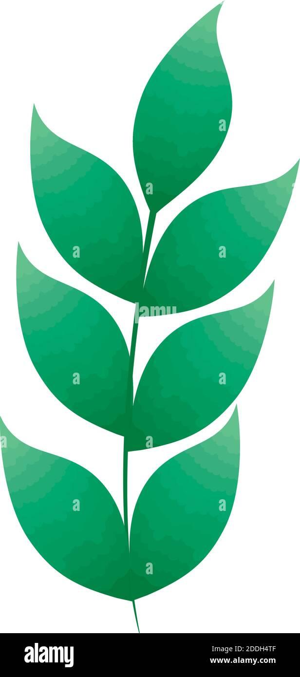 Icono de plantas con hojas sucursal Ilustración del Vector