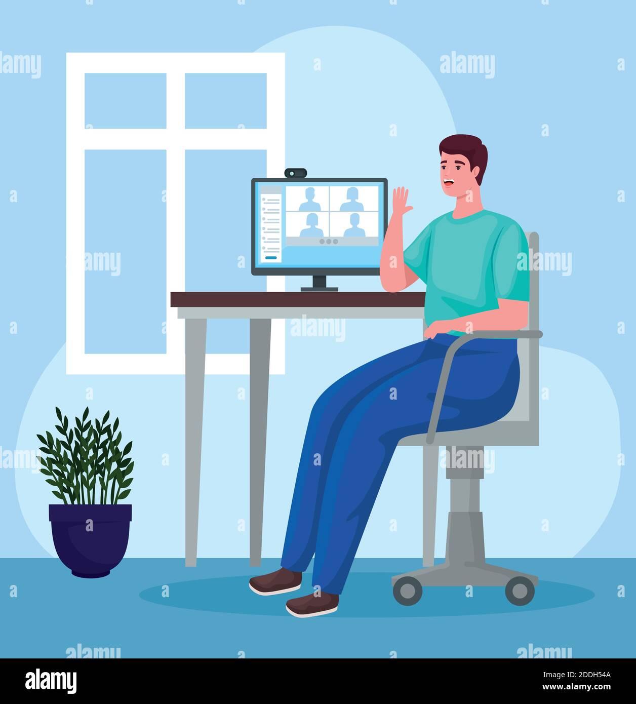 hombre usando el escritorio para reunirse en línea en la oficina Ilustración del Vector