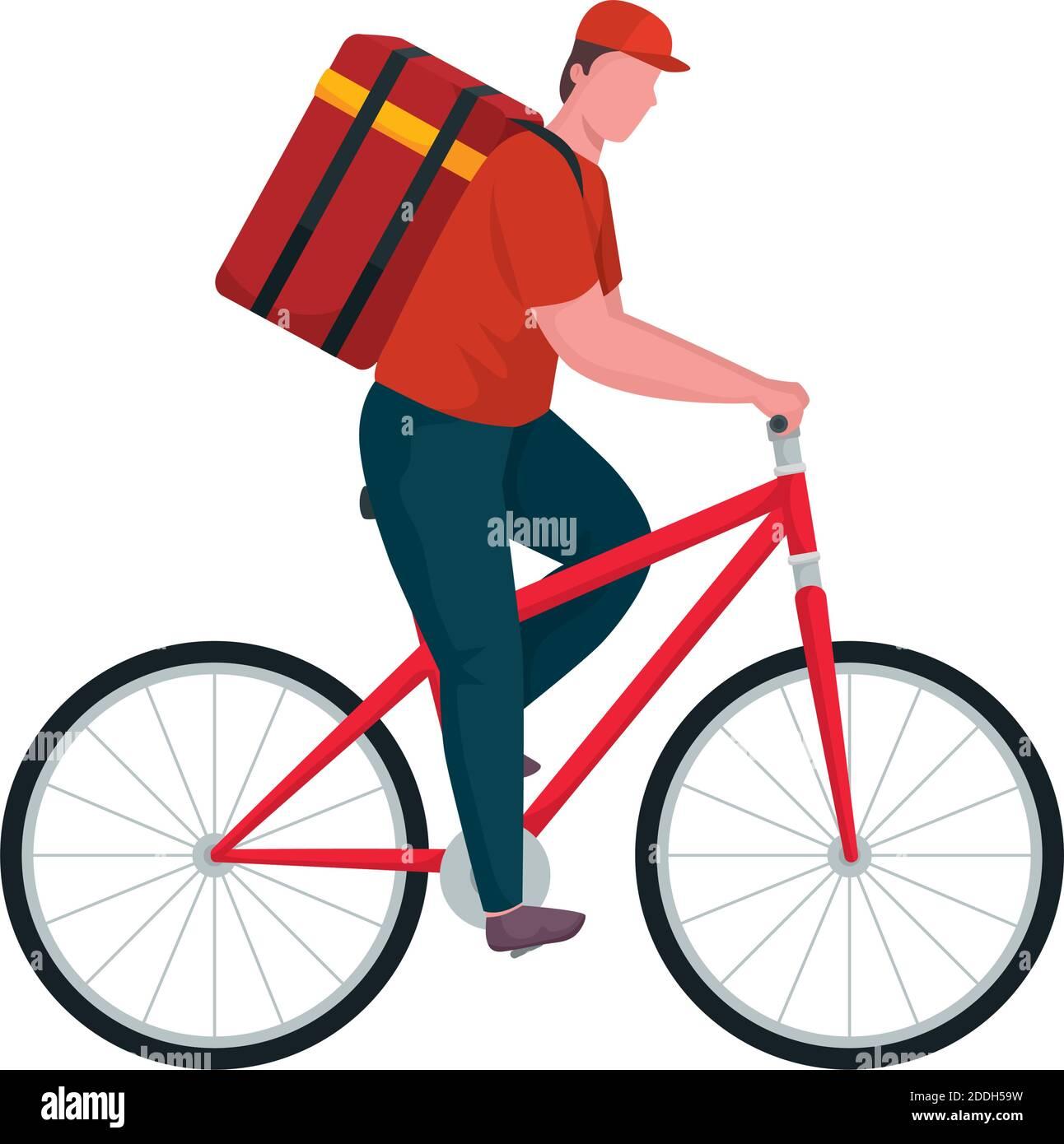 trabajador de reparto en bicicleta Ilustración del Vector