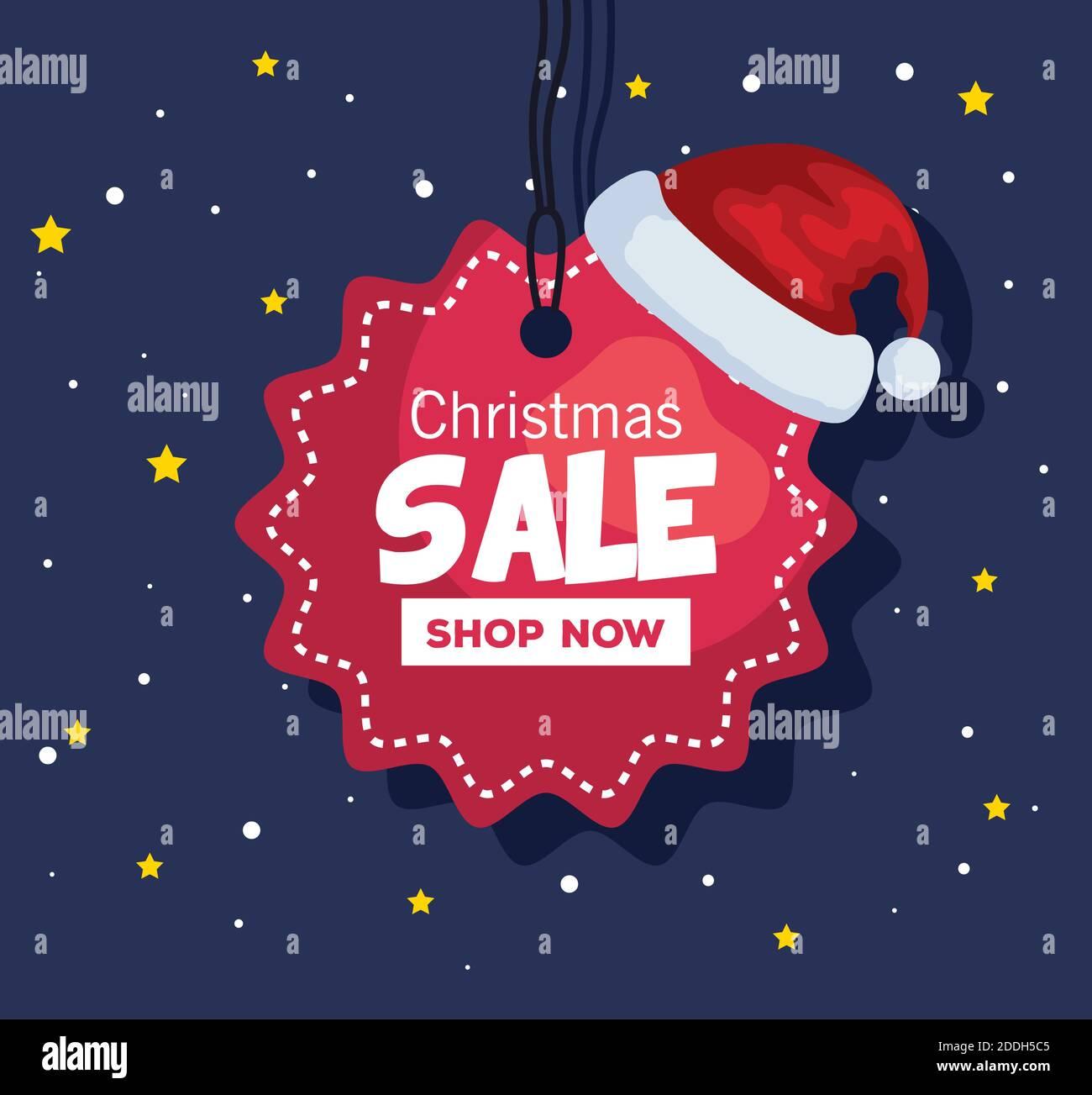 merry christmas oferta venta etiqueta con sombrero vector diseño Ilustración del Vector