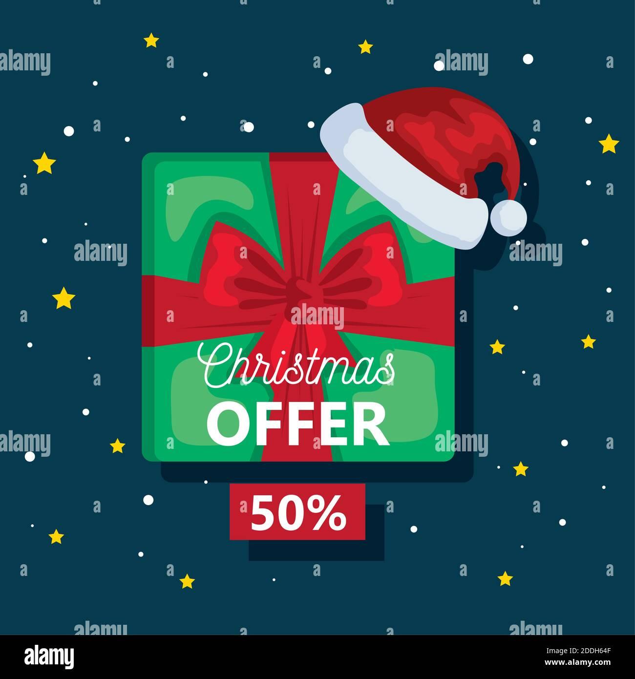 feliz oferta de navidad en venta en regalo con sombrero vector diseño Ilustración del Vector