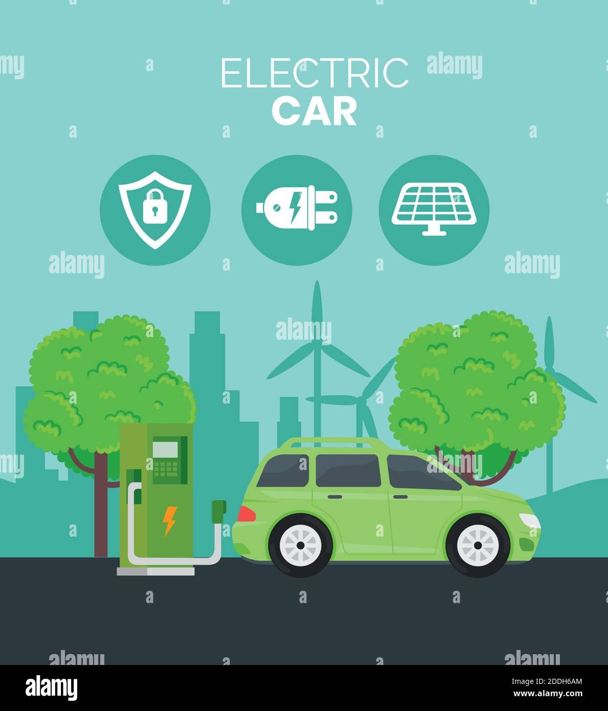 ecología de coches eléctricos alternativa en la estación de chargin y los árboles Ilustración del Vector