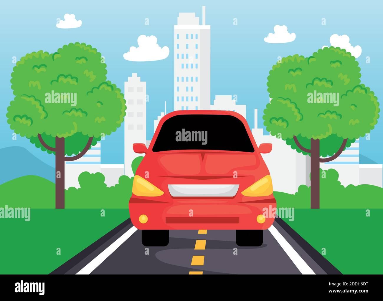 vehículo de coche rojo que viaja en la carretera Ilustración del Vector