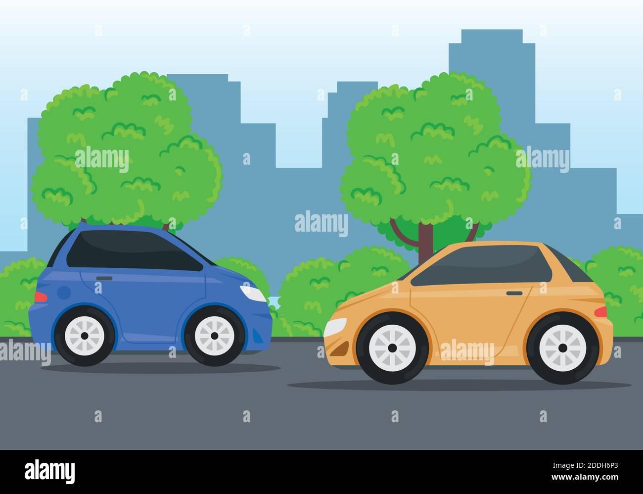vehículos que viajan en la carretera Ilustración del Vector